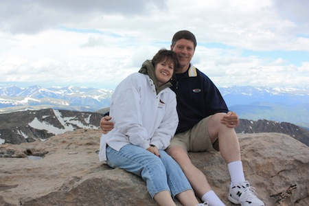Vance & Leeta Christie atop Mount Evans, Colorado, elevation 14,240 feet