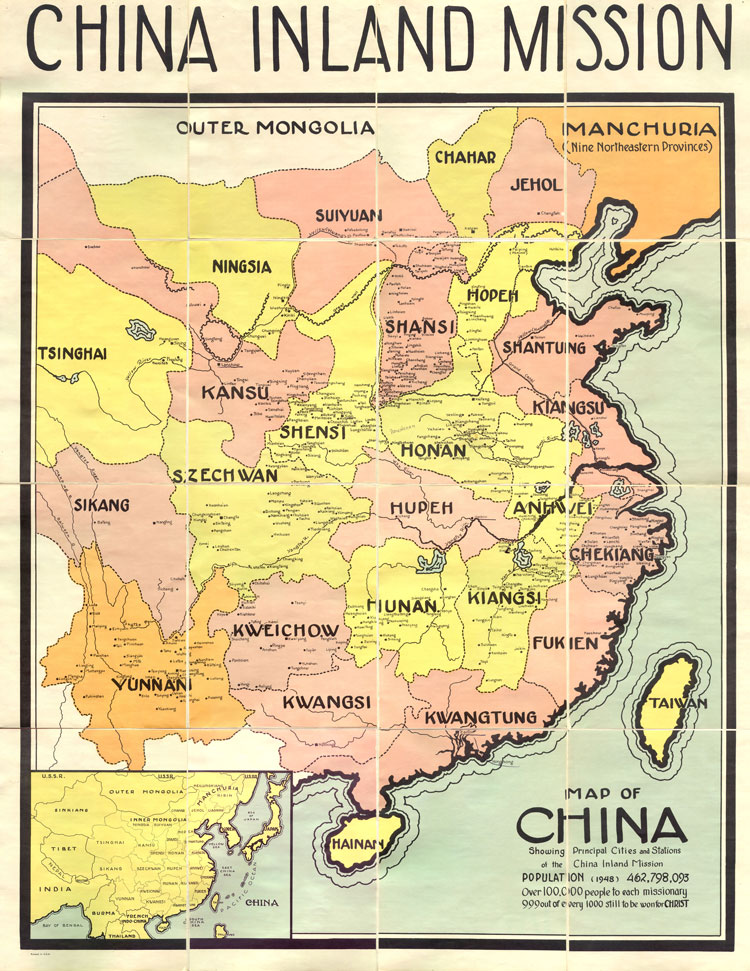 China Inland Mission map showing China's provinces