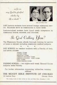 Moody Bible Institute advertisement featuring the Stams