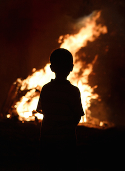 Nigerian child witnessing church burning