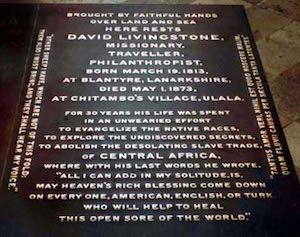Gravestone of David Livingstone, Westminster Abbey.