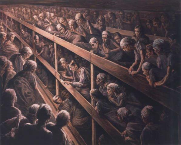 Artist's depiction of Corrie and Betsie ten Boom reading God's Word to fellow prisoners