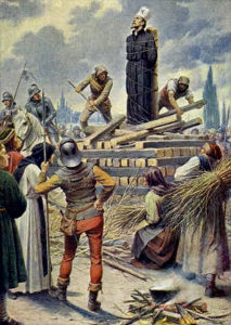 Artist's depiction of John Hus's burning at the stake