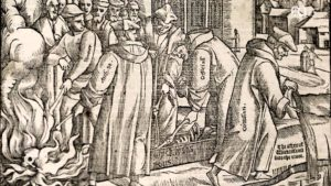 John Wycliffe's remains being exhumed, burned and poured in the River Swift