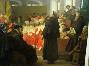 Artist's depiction of Martin Luther at the Diet of Worms