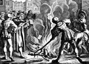Artist's depiction of Martin Luther burning the papal bull that condemned his teachings