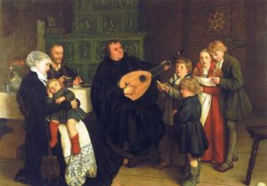Artist's depiction of Martin Luther with his wife and children