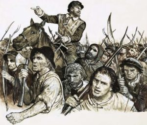 Artist's depiction of a peasants revolt