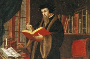 Artist's depiction of John Calvin in his study