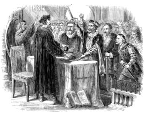 Artist's depiction of John Calvin refusing the Libertines communion