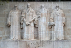 Reformation Wall in Geneva. From left - William Farel, John Calvin, Theodore Beza and John Knox
