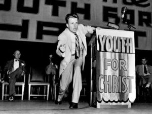 Billy Graham as Youth for Christ evangelist